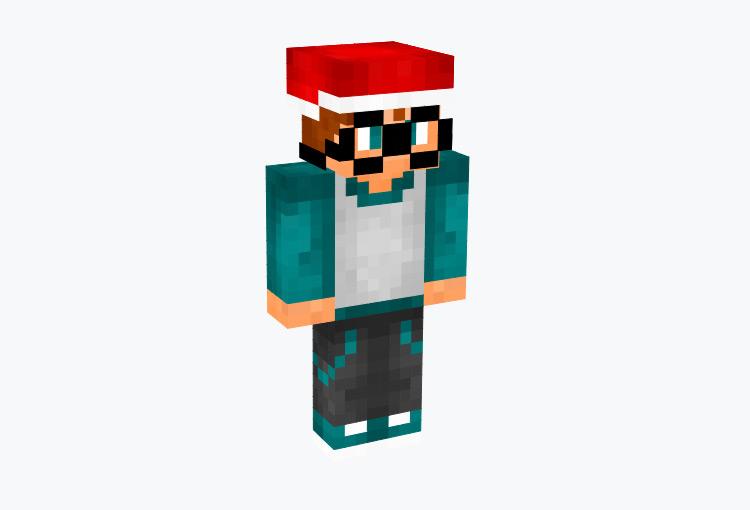 Christmas Nerdy Boy with Santa Hat / Minecraft Skin