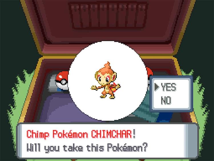 Pokemon Diamond and Pearl Starter Options Screenshot