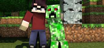 Male Glasses Minecraft Skin posing with Creeper