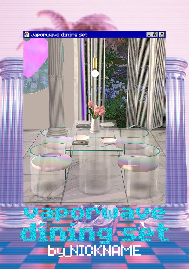 Vaporwave Dining Set / TS4 CC