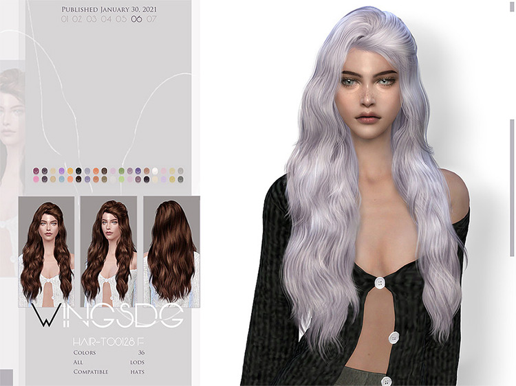 Selena Gomez WINGS-TO0128 Hair CC for The Sims 4