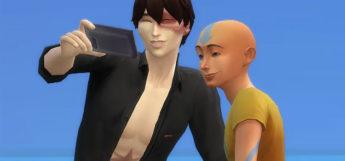 Zuko and Aang posing for selfies / TS4 Avatar Last Airbender CC