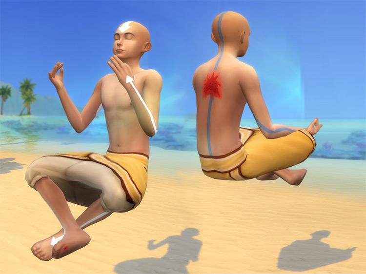 Aang's Body Markings in Avatar / TS4 CC