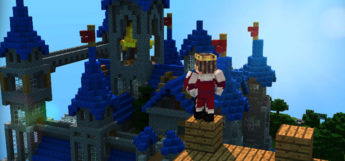 Royal King standing on castle in Minecraft