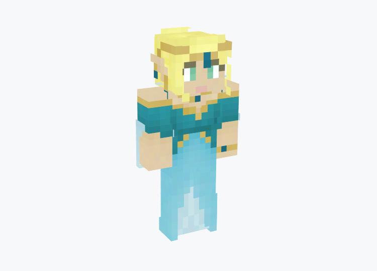 Elf Queen in Blue Dress / Minecraft Skin