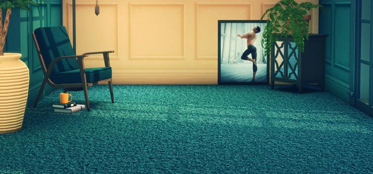 Green Plush Carpeting CC in The Sims 4