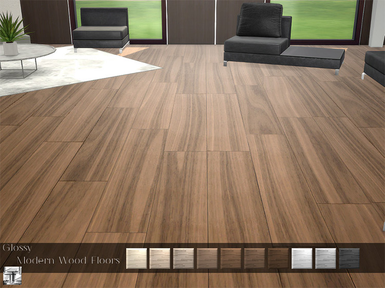 Glossy Modern Wood Flooring for The Sims 4