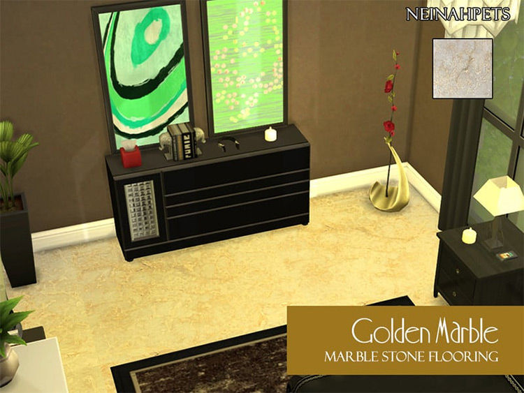 Golden Marble Flooring for The Sims 4