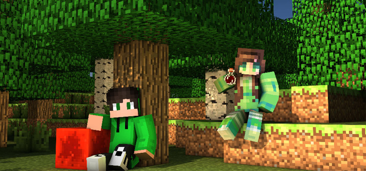 Minecraft / Green Hoodie Guy and Green Girl Under Trees