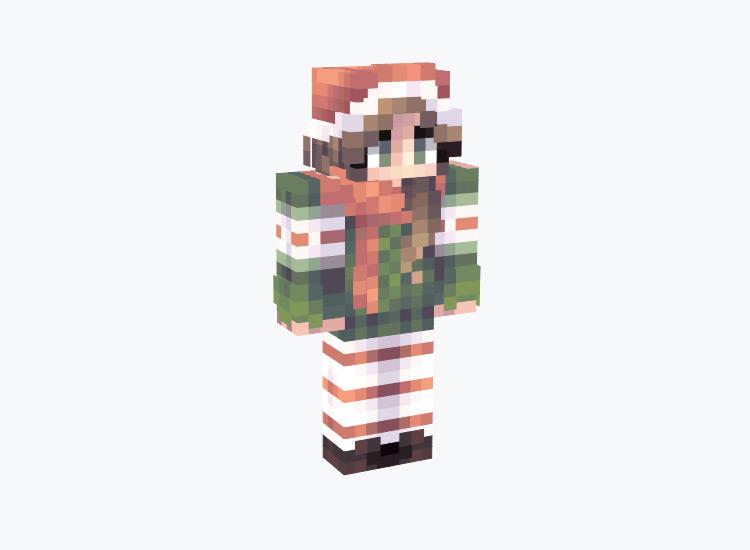 Evergreen Christmas Girl Skin with Santa Hat / Minecraft Skin