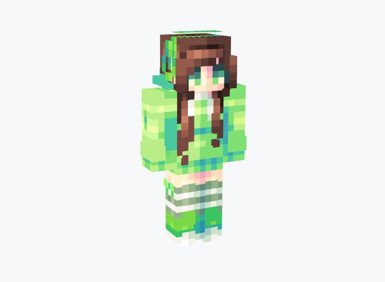 Green Girl with Green Headphones / Minecraft Skin