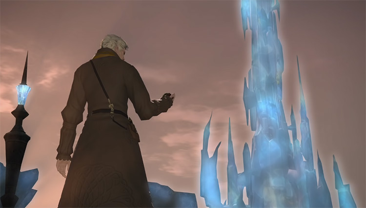 Crystal Tower in the distance / FFXIV Cutscene