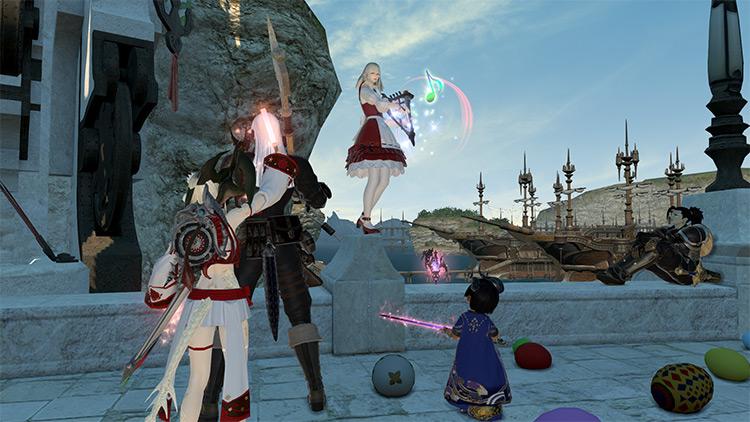 Bard playing music in Final Fantasy XIV