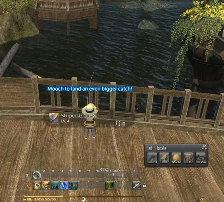 Mooch Text Onscreen Fishing in Final Fantasy XIV
