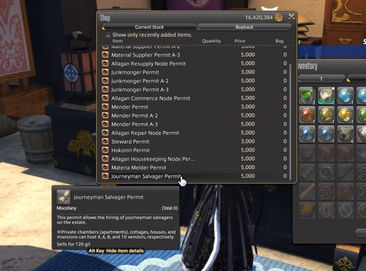 Buying The Journeyman Salvager Permit in FFXIV