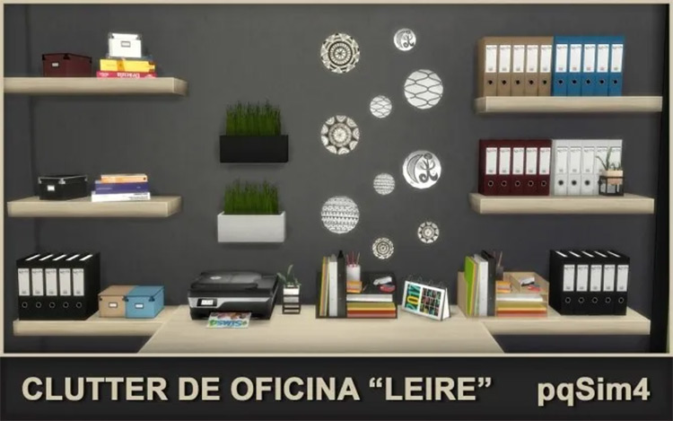 Leire Office Clutter Set / Sims 4 CC