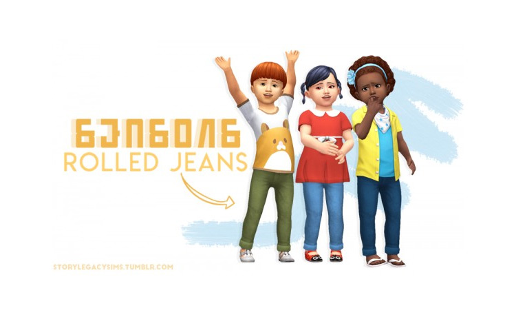 Rolled Tot Jeans / Sims 4 CC