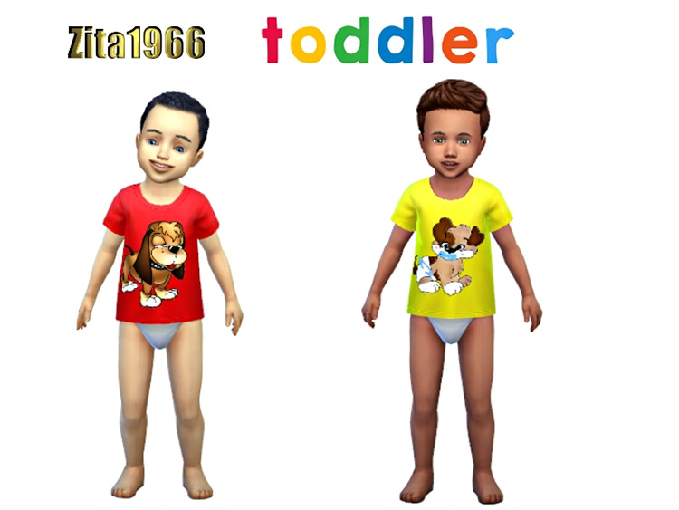 Toddler Doggy Shirts for The Sims 4