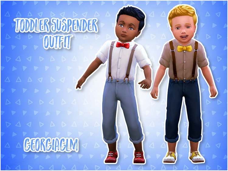 Toddler Suspender Outfit / Sims 4 CC
