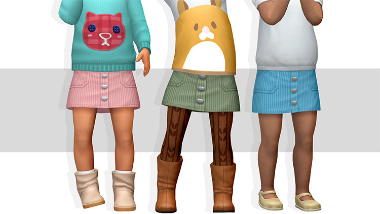 Ribbed Skirt (Toddlers) CC for The Sims 4