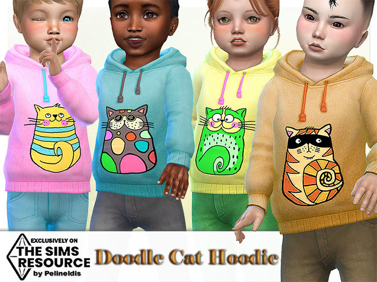 Toddler Doodle Cats Hoodie / Sims 4 CC