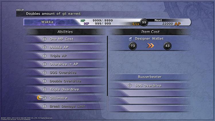 Customizing Gillionaire onto Wakka's weapon in FFX HD