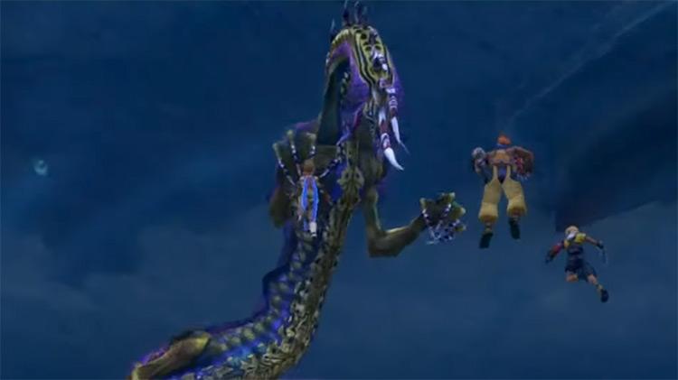 Battling Shinryu in Final Fantasy X HD