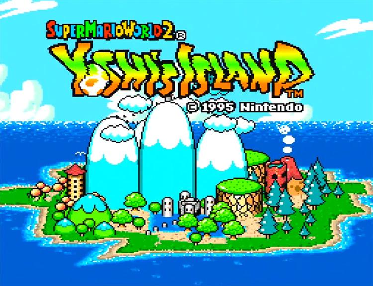 Super Mario World 2: Yoshi's Island (1995) SNES Title Screen