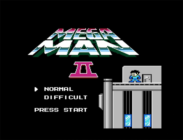 Mega Man 2 (1989) title screen screenshot