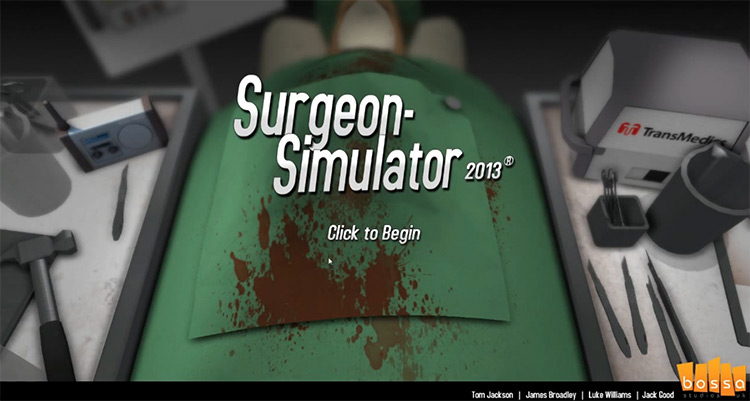 Surgeon Simulator video game title screen