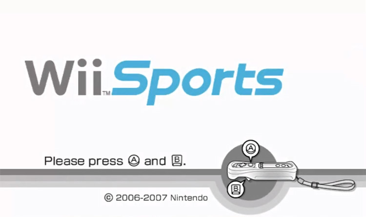 Wii Sports (2006) gameplay title screen