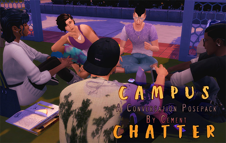 Campus Chatter: A Conversation Posepack / TS4 CC