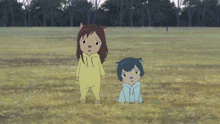 Ame & Yuki in Wolf Children anime