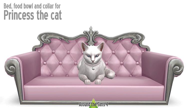 Princess Cat Bed/Bowl/Collar Set for The Sims 4