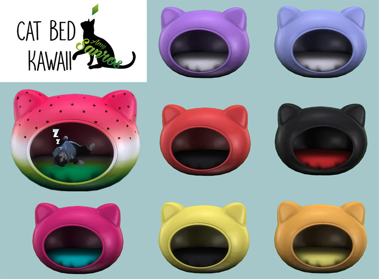 Kawaii Cat Bed CC for The Sims 4