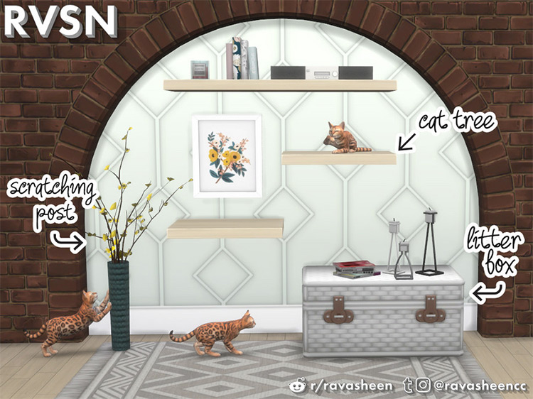 Meow-dern Cat CC Furniture Set for The Sims 4
