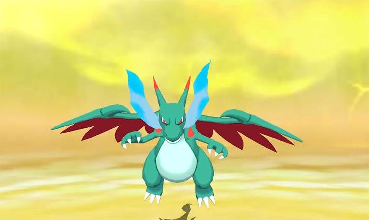 Shiny Mega Charizard X in Pokémon Sun and Moon