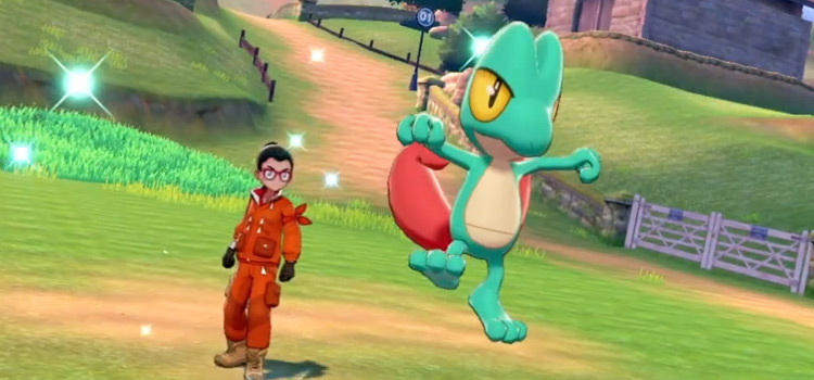 Shiny Treecko in Battle (Pokémon Sword)