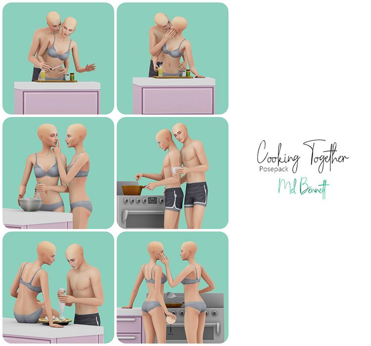 Cooking Together Pose Pack / Sims 4 CC