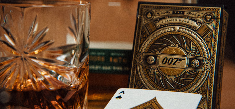 James Bond Playing Cards with Whiskey (Photo)