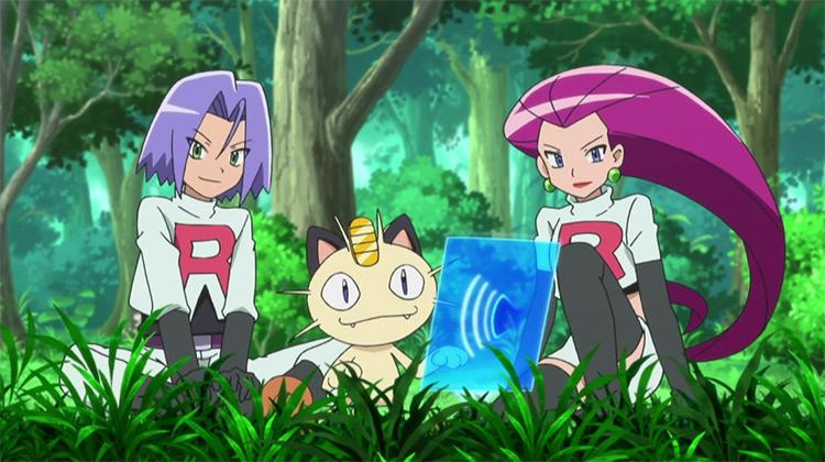Team Rocket (Jessie, James, and Meowth) in Pokémon anime