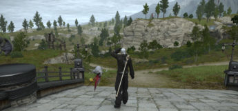 Character Overlooking Mountain Paths in FFXIV HD