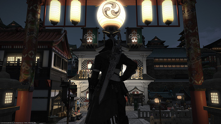 Character standing in world at nighttime / FFXIV