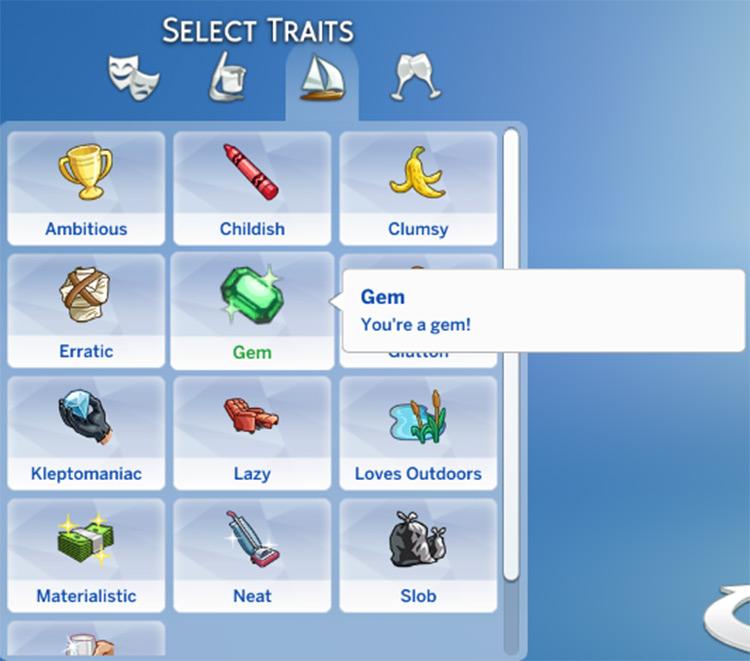 Gem Trait Mod for The Sims 4