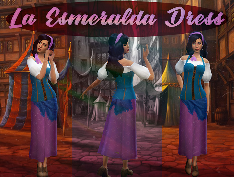 Esmeralda Dress CC for The Sims 4