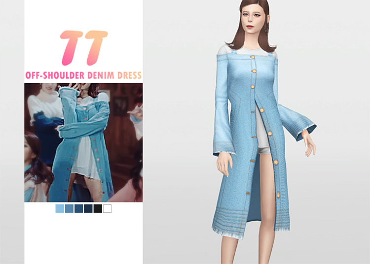 Off-Shoulder Denim Dress CC for The Sims 4