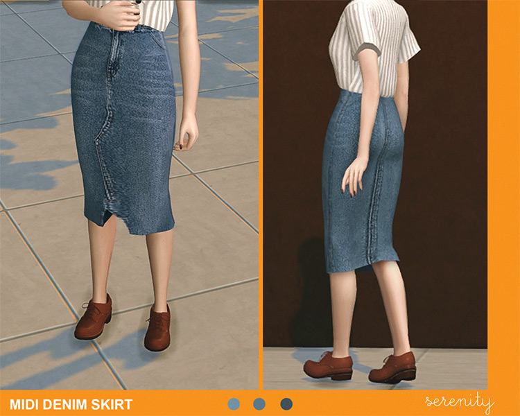 Midi Denim Skirt CC for TS4