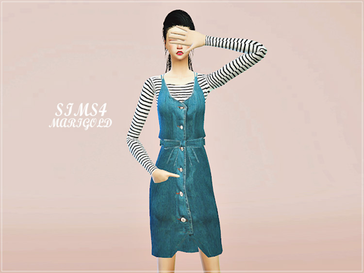 Ribbon Belt Denim Dress CC