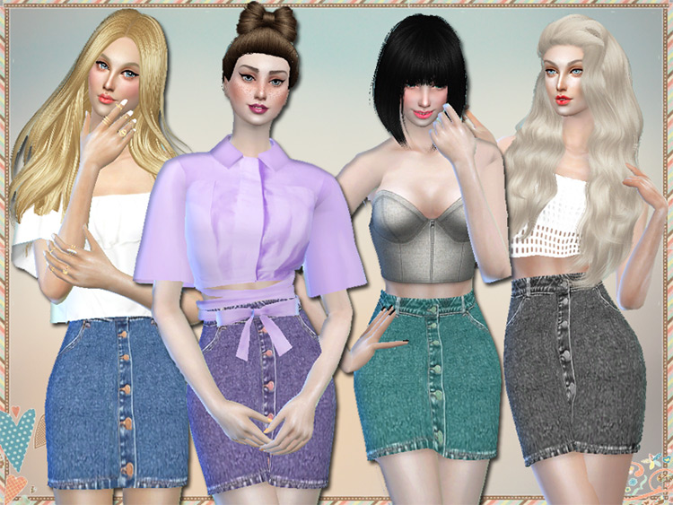 Buttoned Denim Skirt CC for TS4