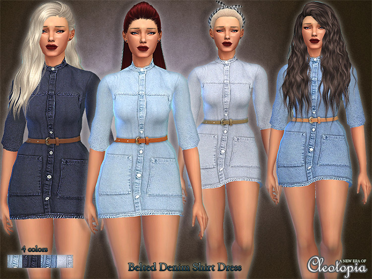 Belted Denim Shirt Dress for The Sims 4